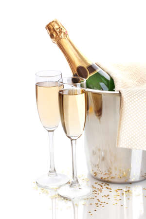 Photo for Champagne bottle in bucket with ice and glasses of champagne, isolated on white - Royalty Free Image