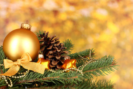 Foto de Christmas decoration on yellow background - Imagen libre de derechos
