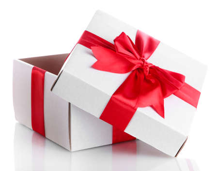 Photo for gift box with red ribbon, isolated on white - Royalty Free Image