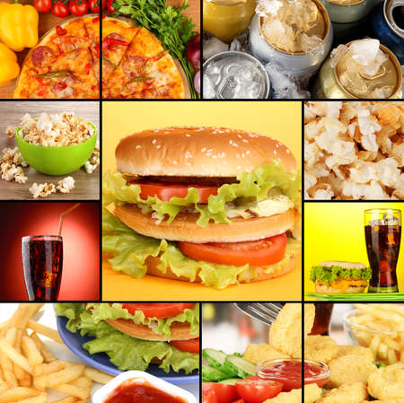 Collage of fast food