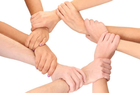 Photo pour Ring of hands, isolated on white.  Conceptual photo of teamwork - image libre de droit