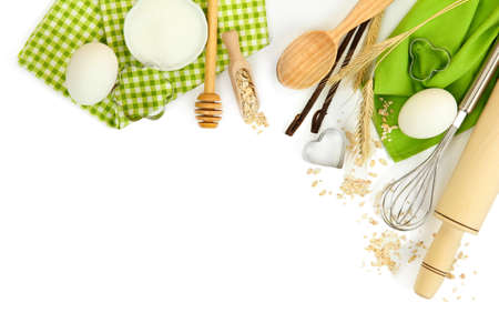 Photo pour Cooking concept. Basic baking ingredients and kitchen tools isolated on white - image libre de droit