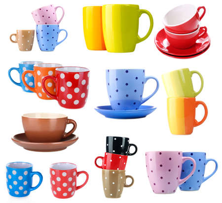 Collage of colorful cups isolated on white