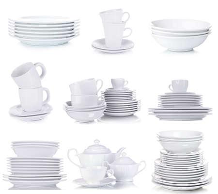 Photo pour Clean dishware isolated on white - image libre de droit