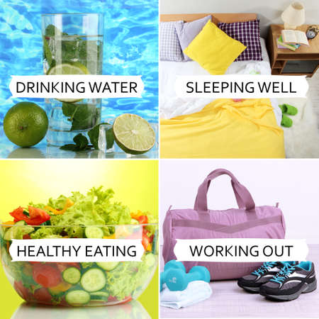 Foto per Collage of healthy lifestyle - Immagine Royalty Free