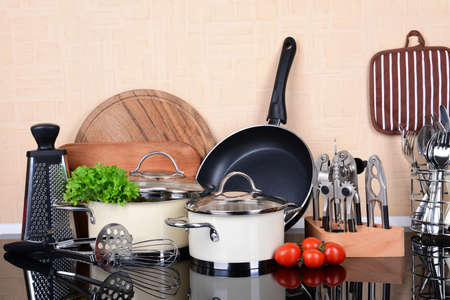 Photo for Kitchen tools on table in kitchen - Royalty Free Image