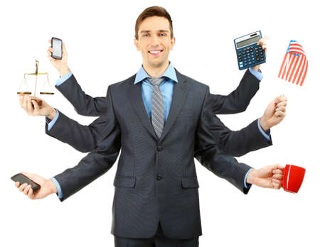 Portrait of young businessman with many hands, isolated on white
