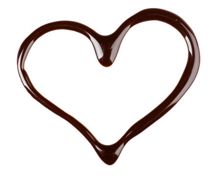 Photo for Chocolate syrup drips in shape of heart isolated on white - Royalty Free Image