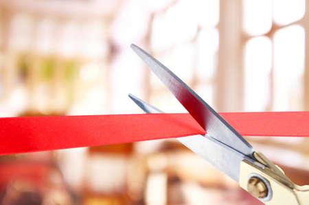 Photo pour Grand opening, cutting red ribbon - image libre de droit