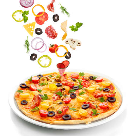 Foto per Tasty pizza and falling ingredients isolated on white - Immagine Royalty Free