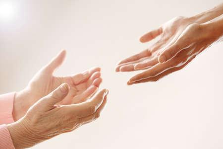Foto de Helping hands, care for the elderly concept - Imagen libre de derechos