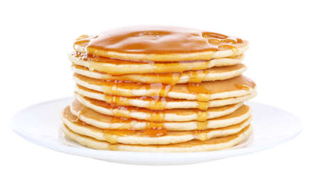 Photo for Stack of delicious pancakes with honey on plate isolated on white - Royalty Free Image