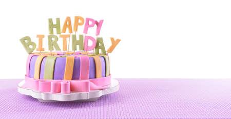 Photo pour Delicious birthday cake on table on white background - image libre de droit