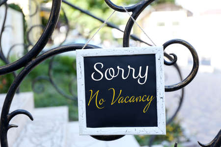 Photo for Signboard with text Sorry No Vacancy near hotel - Royalty Free Image