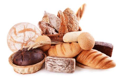 Foto de Different bread isolated on white - Imagen libre de derechos
