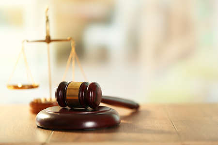 Photo for Wooden judges gavel on wooden table, close up - Royalty Free Image