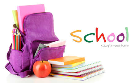 Photo for Purple backpack with school supplies isolated on white - Royalty Free Image