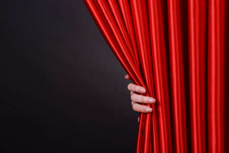 Photo for Red Curtain on black background - Royalty Free Image