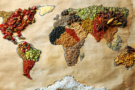 Foto de Map of world made from different kinds of spices, close-up - Imagen libre de derechos