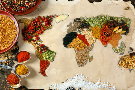 Photo for Map of world made from different kinds of spices, close-up - Royalty Free Image