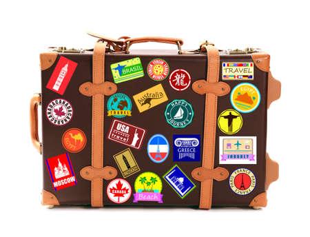 Photo pour Travel suitcase isolated on white - image libre de droit