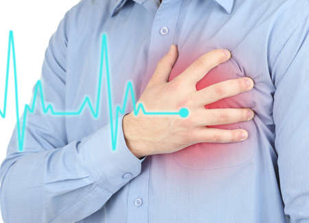 Photo pour Man having chest pain - heart attack - image libre de droit