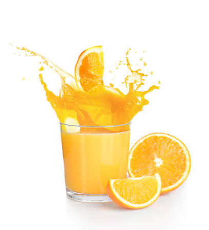 Photo pour Orange juice splashes isolated on white - image libre de droit