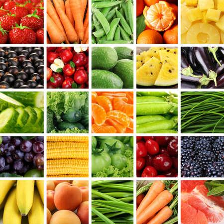 Photo pour Collage with tasty fruits and vegetables - image libre de droit