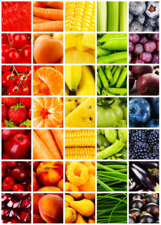 Photo for Collage with tasty fruits and vegetables - Royalty Free Image