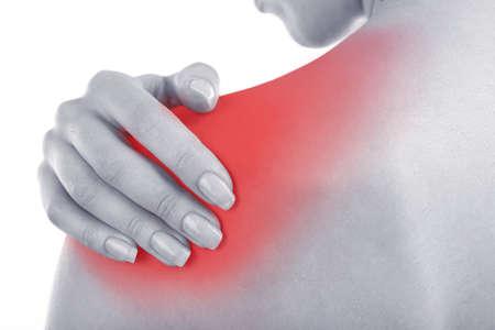 Photo pour Young girl with shoulder pain close up - image libre de droit