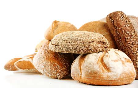 Foto de Different fresh bread, isolated on white - Imagen libre de derechos