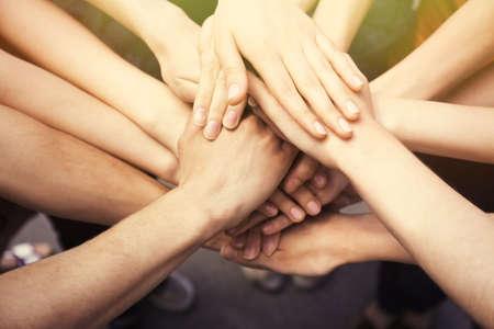 Photo pour United hands close-up - image libre de droit