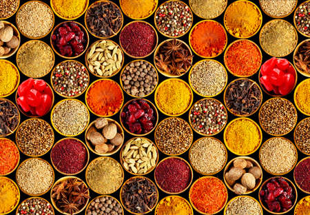 Foto per Different spices on black background - Immagine Royalty Free