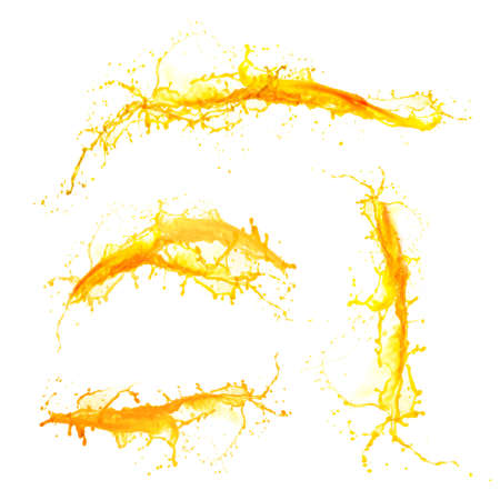 Foto de Orange juice splashes isolated on white - Imagen libre de derechos