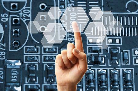 Photo pour Future technology concept integrates electronics and bio-technologies - image libre de droit