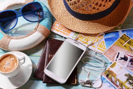 Photo pour Preparing for travel,reservation ticket close-up - image libre de droit