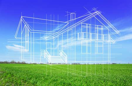 Foto de New house project on nature background, close up - Imagen libre de derechos