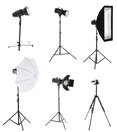Photo for Photographic equipment isolated on white - Royalty Free Image