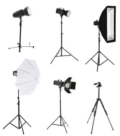 Foto de Photographic equipment isolated on white - Imagen libre de derechos