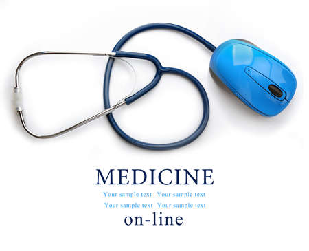 Photo pour Stethoscope with computer mouse isolated on white. Medical online concept - image libre de droit