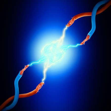 Foto de Electric cables with glowing electricity lightning, close up - Imagen libre de derechos