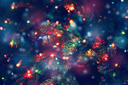 Photo for Christmas tree decorated with garlands, close-up - Royalty Free Image
