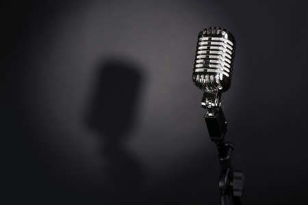 Photo for Retro silver microphone on gray background - Royalty Free Image