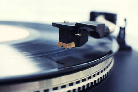 Photo for Gramophone with a vinyl record, closeup - Royalty Free Image