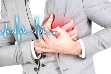 Foto de Man having chest pain - heart attack, close up - Imagen libre de derechos