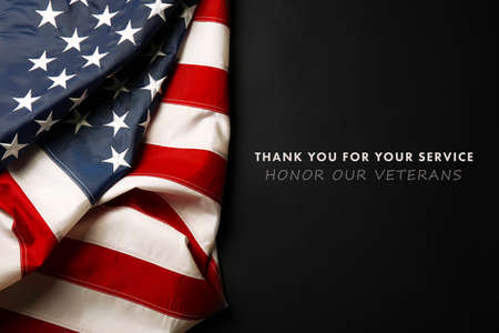 Photo pour Text Thank You For Your Service on black background near American flag - image libre de droit