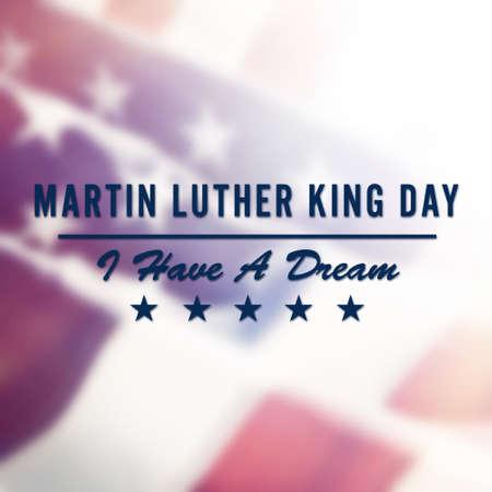 Foto de Martin Luther King Day text on USA flag background - Imagen libre de derechos