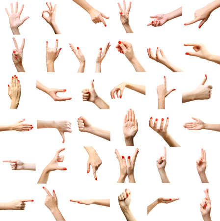 Photo pour Set of female hands gestures, isolated on white - image libre de droit