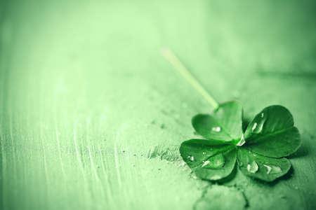 Foto de St. Patricks day,  clover leaf on green wooden background - Imagen libre de derechos