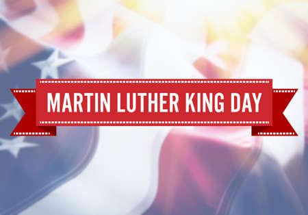 Foto de Martin Luther King Day sign on USA flag background - Imagen libre de derechos